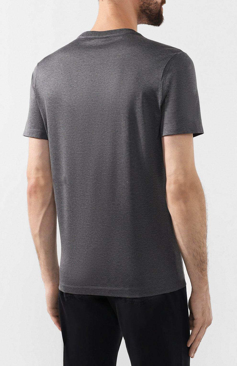 Мужская хлопковая футболка PAUL&SHARK серого цвета, арт. C0P1011/C00 | Фото 4