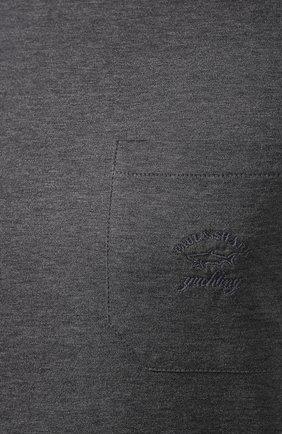 Мужская хлопковая футболка PAUL&SHARK серого цвета, арт. C0P1011/C00 | Фото 5
