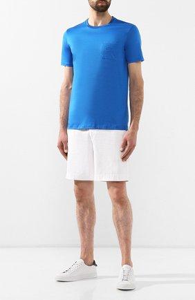 Мужская хлопковая футболка PAUL&SHARK голубого цвета, арт. C0P1011/C00   Фото 2