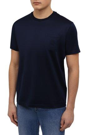Мужская хлопковая футболка PAUL&SHARK темно-синего цвета, арт. C0P1011/C00 | Фото 3