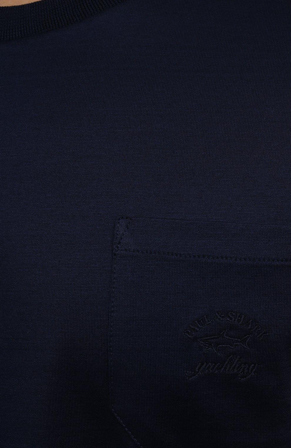Мужская хлопковая футболка PAUL&SHARK темно-синего цвета, арт. C0P1011/C00 | Фото 5