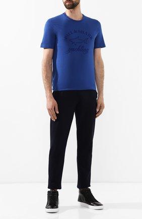 Мужская хлопковая футболка PAUL&SHARK синего цвета, арт. C0P1007/C00 | Фото 2