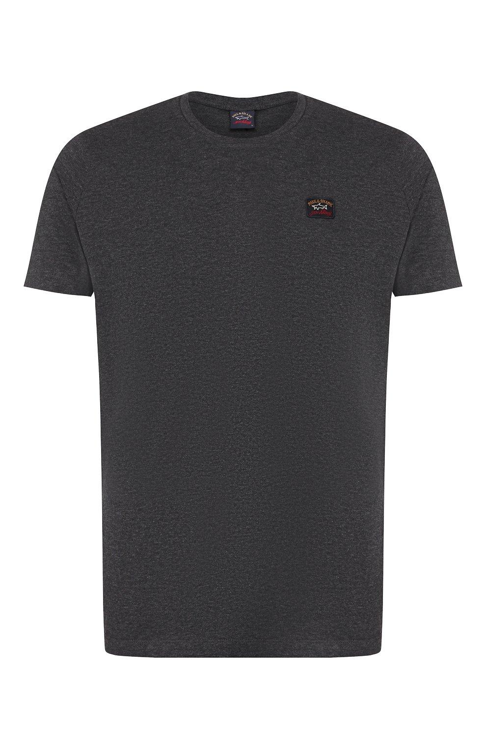 Мужская хлопковая футболка PAUL&SHARK темно-серого цвета, арт. C0P1002 | Фото 1