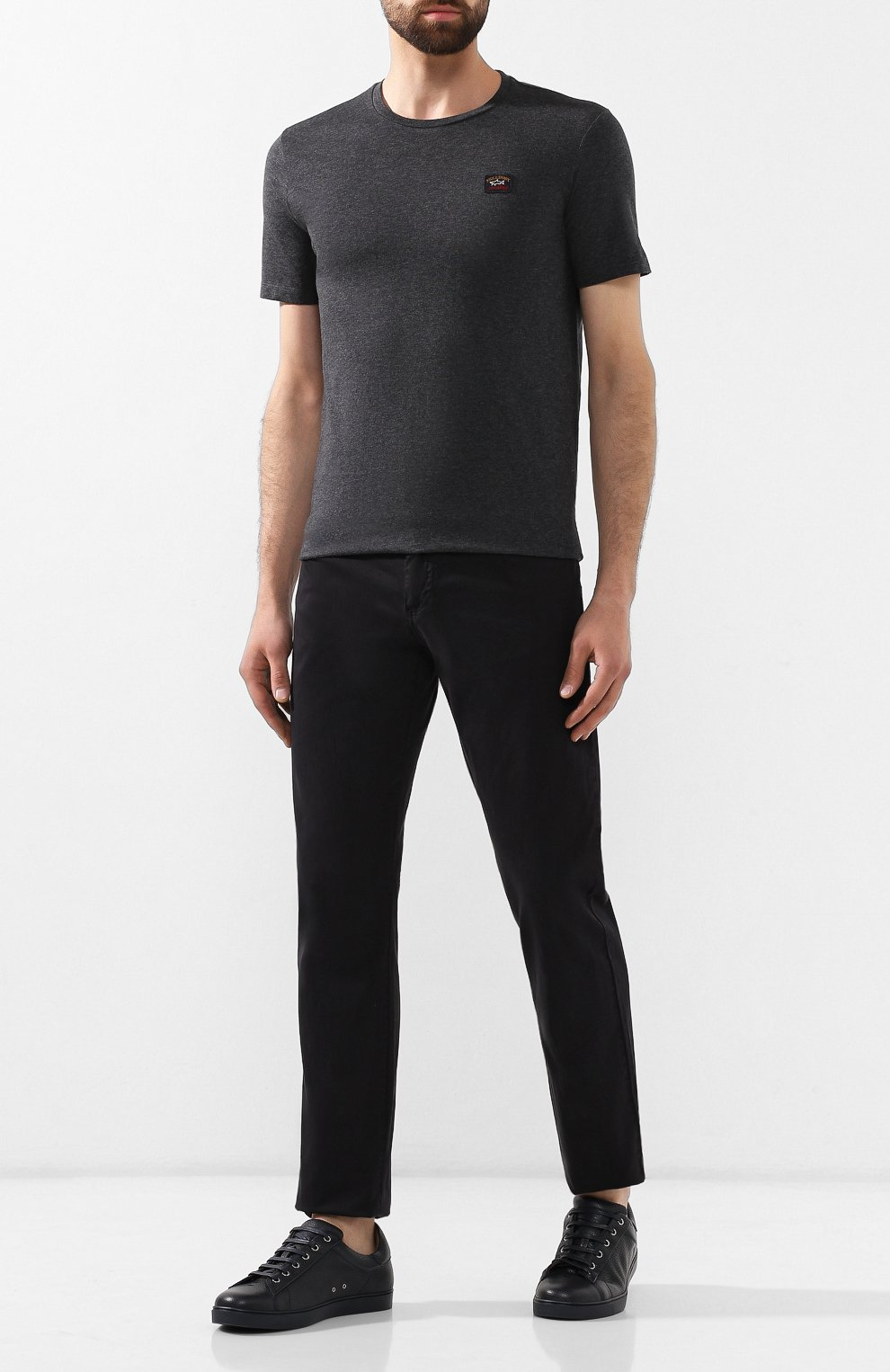 Мужская хлопковая футболка PAUL&SHARK темно-серого цвета, арт. C0P1002 | Фото 2