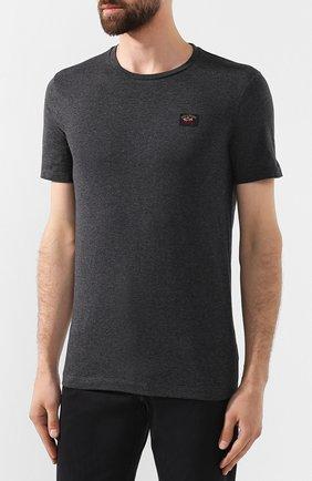 Мужская хлопковая футболка PAUL&SHARK темно-серого цвета, арт. C0P1002 | Фото 3