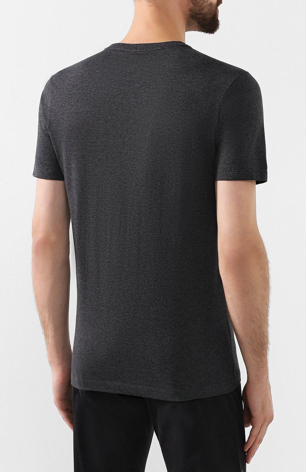 Мужская хлопковая футболка PAUL&SHARK темно-серого цвета, арт. C0P1002 | Фото 4