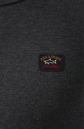Мужская хлопковая футболка PAUL&SHARK темно-серого цвета, арт. C0P1002 | Фото 5