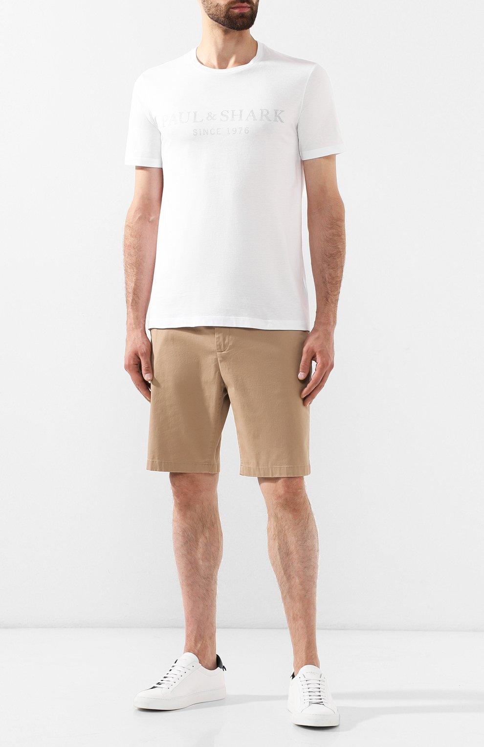 Мужская хлопковая футболка PAUL&SHARK белого цвета, арт. A19P1629 | Фото 2