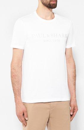 Мужская хлопковая футболка PAUL&SHARK белого цвета, арт. A19P1629 | Фото 3