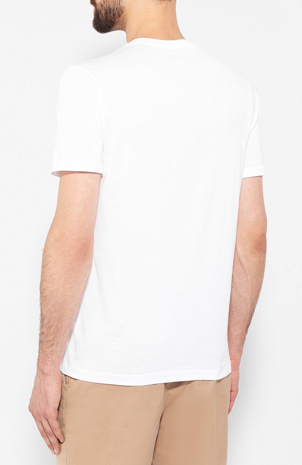 Мужская хлопковая футболка PAUL&SHARK белого цвета, арт. A19P1629 | Фото 4