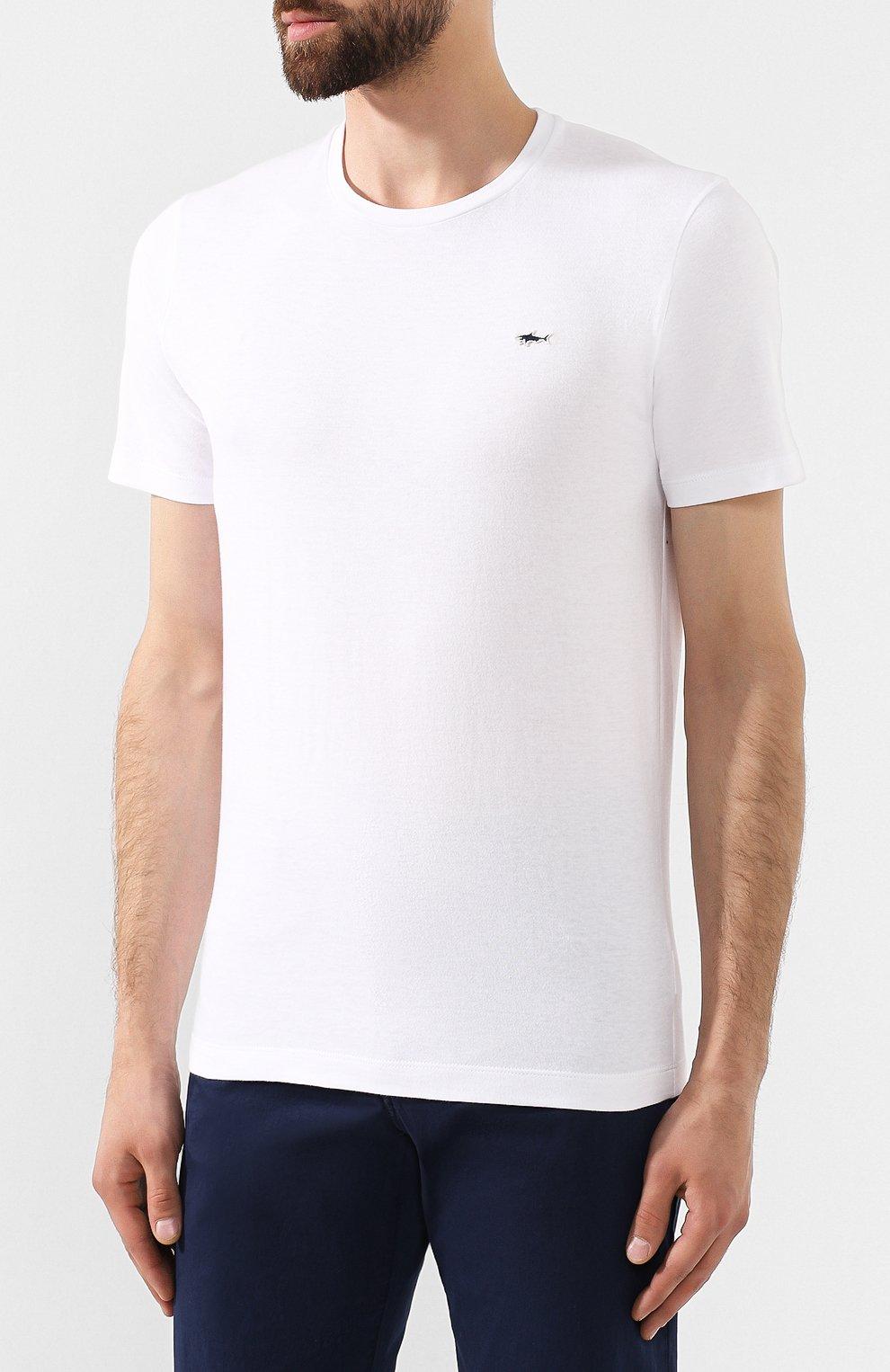 Мужская хлопковая футболка PAUL&SHARK белого цвета, арт. A19P1601 | Фото 3