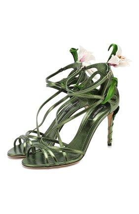 Женские кожаные босоножки keira DOLCE & GABBANA темно-зеленого цвета, арт. CR0820/AA132 | Фото 1