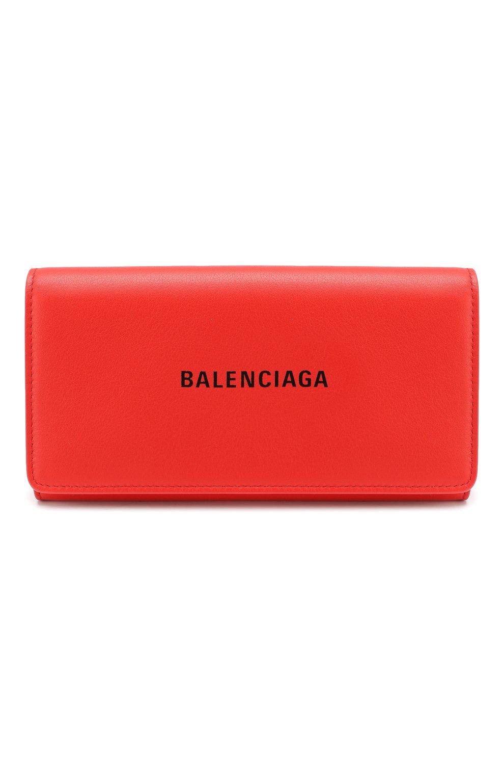 Женские кожаный кошелек everyday BALENCIAGA красного цвета, арт. 555709/DLQ4N | Фото 1