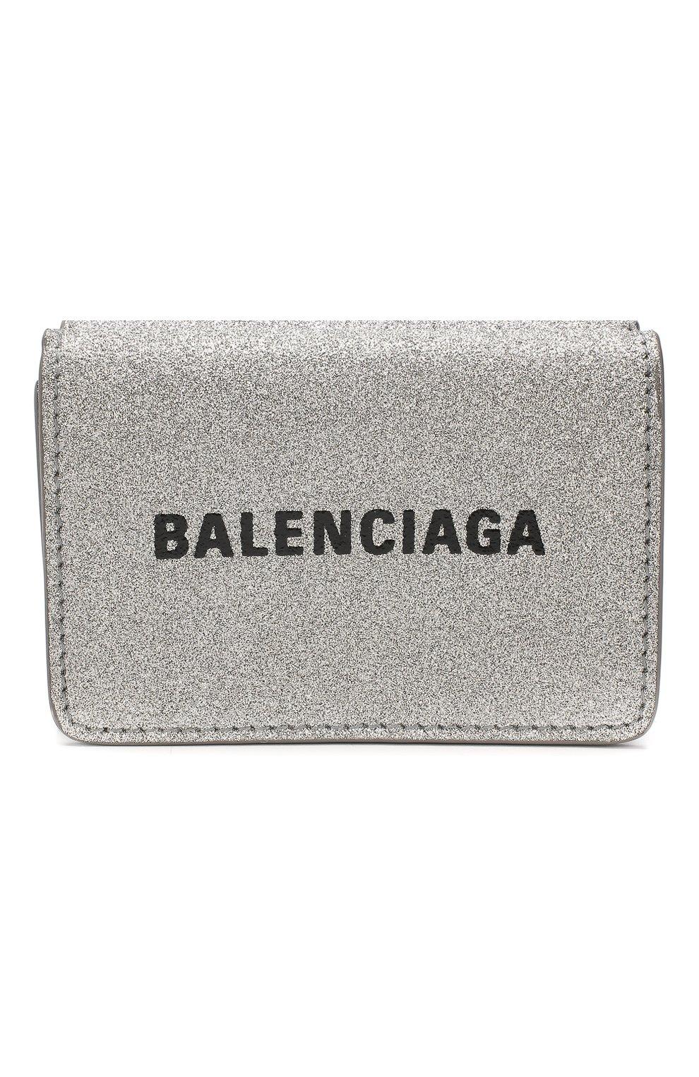 Женские кожаное портмоне everyday BALENCIAGA серебряного цвета, арт. 551921/0XV3N | Фото 1