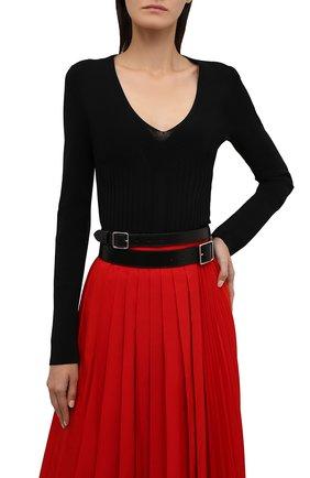 Женский кожаный ремень ALEXANDER MCQUEEN черного цвета, арт. 585977/1BR0I   Фото 2 (Статус проверки: Проверена категория; Материал: Кожа)