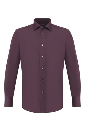 Мужская хлопковая сорочка ERMENEGILDO ZEGNA коричневого цвета, арт. 601066/9MS0BR | Фото 1