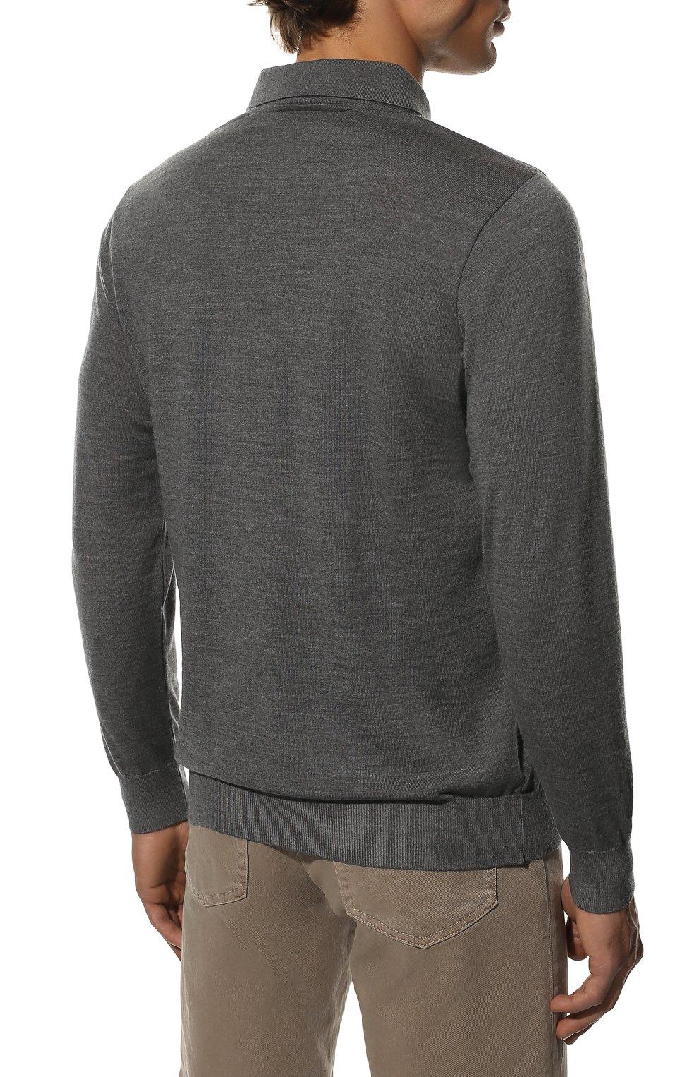 Мужское шерстяное поло PAUL&SHARK серого цвета, арт. C0P1050/FLV   Фото 4
