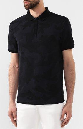 Мужское хлопковое поло VALENTINO черного цвета, арт. SV3MH00M3M2 | Фото 3