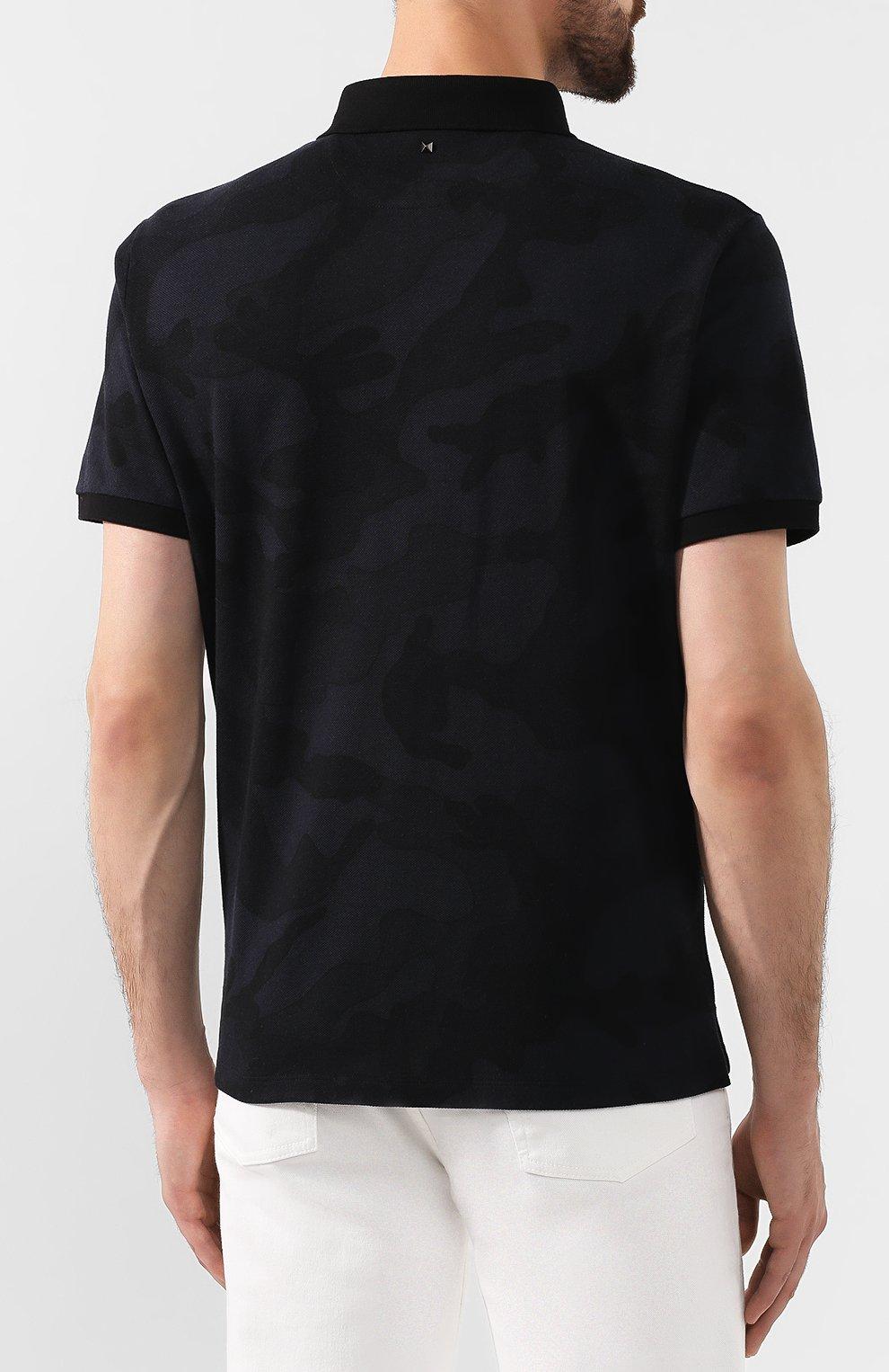 Мужское хлопковое поло VALENTINO черного цвета, арт. SV3MH00M3M2 | Фото 4