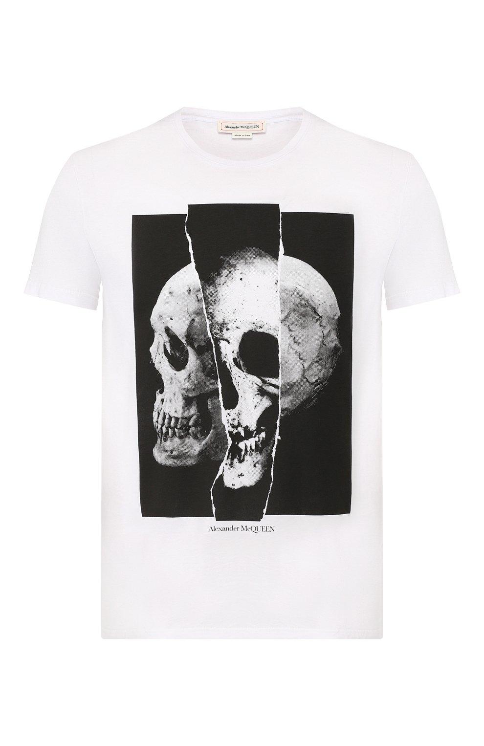 Мужская хлопковая футболка ALEXANDER MCQUEEN белого цвета, арт. 582923/QNZ8B   Фото 1
