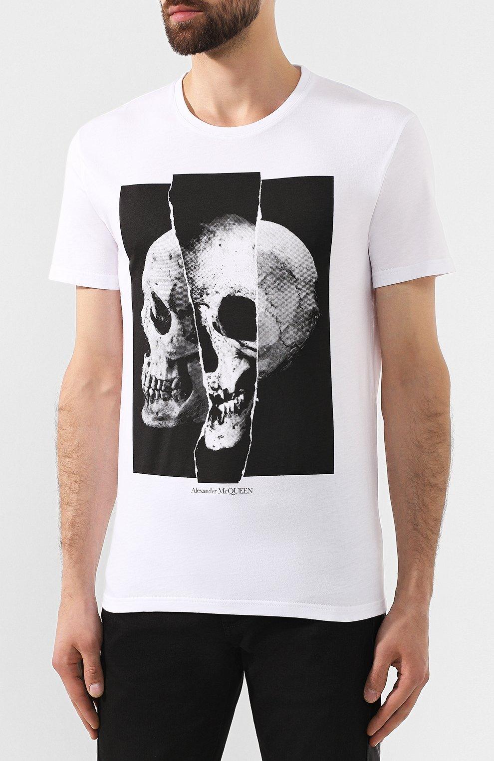 Мужская хлопковая футболка ALEXANDER MCQUEEN белого цвета, арт. 582923/QNZ8B   Фото 3
