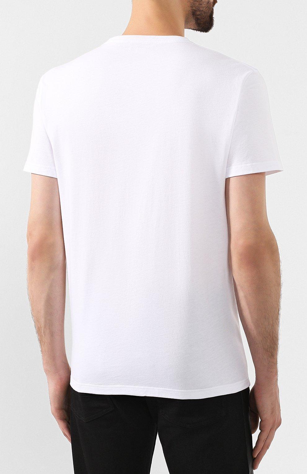 Мужская хлопковая футболка ALEXANDER MCQUEEN белого цвета, арт. 582923/QNZ8B   Фото 4