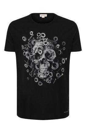 Мужская хлопковая футболка ALEXANDER MCQUEEN черного цвета, арт. 582907/QNZ8A | Фото 1