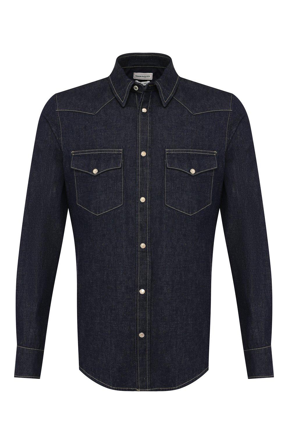 Мужская хлопковая рубашка ALEXANDER MCQUEEN синего цвета, арт. 567872/QNY62 | Фото 1