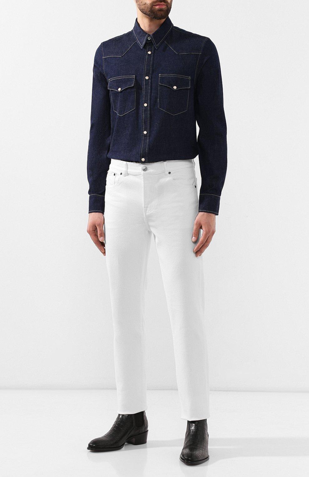 Мужская хлопковая рубашка ALEXANDER MCQUEEN синего цвета, арт. 567872/QNY62 | Фото 2