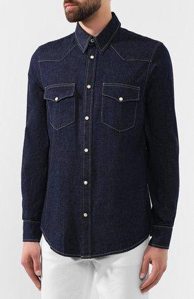 Мужская хлопковая рубашка ALEXANDER MCQUEEN синего цвета, арт. 567872/QNY62 | Фото 3