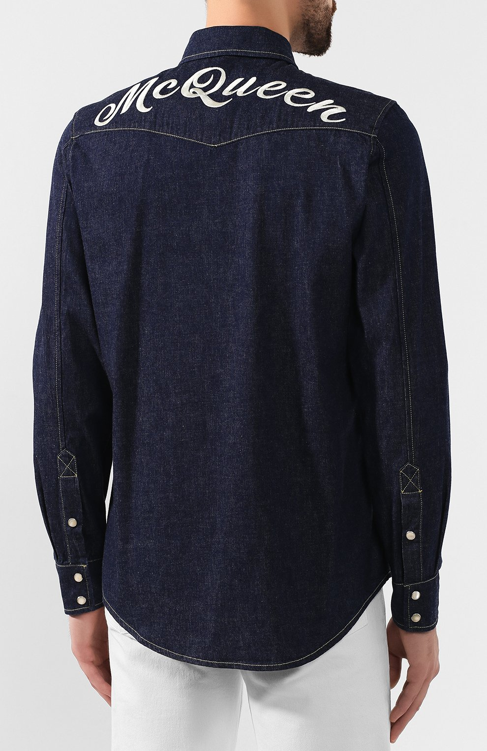 Мужская хлопковая рубашка ALEXANDER MCQUEEN синего цвета, арт. 567872/QNY62 | Фото 4