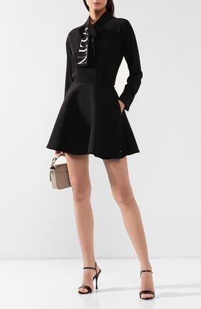 Женская юбка из смеси шерсти и шелка VALENTINO черного цвета, арт. SB3RA5051CF | Фото 2