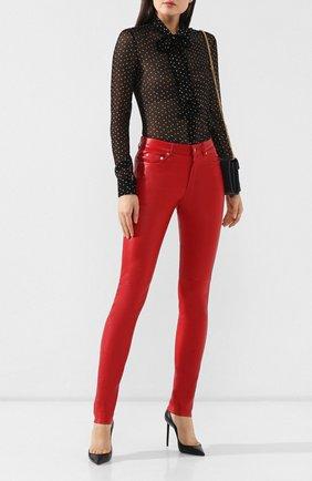 Женские кожаные брюки SAINT LAURENT красного цвета, арт. 496409/Y5RH2 | Фото 2
