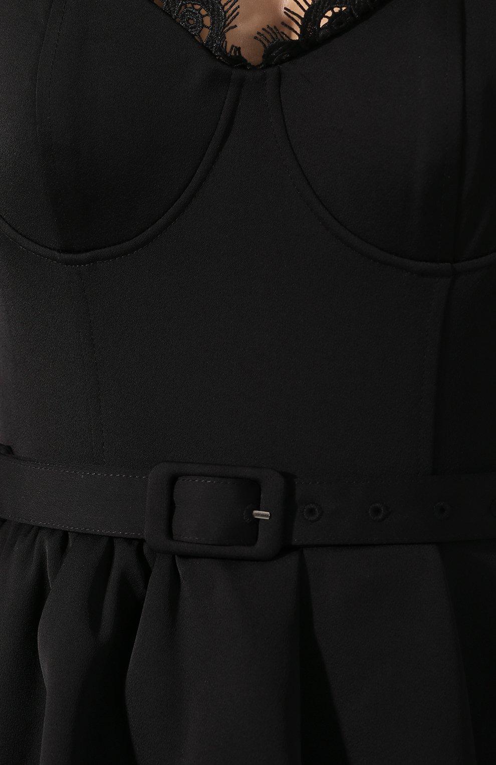 Женский комбинезон с поясом SELF-PORTRAIT черного цвета, арт. SP22-114J | Фото 5