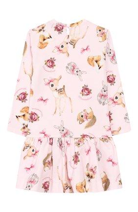 Женский хлопковое платье MONNALISA розового цвета, арт. 314907 | Фото 2