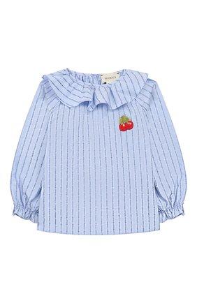 Детский хлопковая блузка GUCCI голубого цвета, арт. 577935/ZAB8T | Фото 1