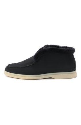 Женские замшевые ботинки open walk LORO PIANA темно-серого цвета, арт. FAG3602 | Фото 2