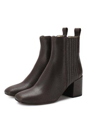 Женские кожаные ботильоны BRUNELLO CUCINELLI темно-серого цвета, арт. MZAMC1622 | Фото 1