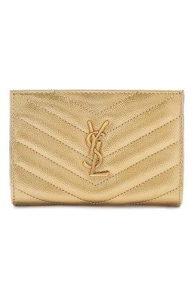 Женские кожаное портмоне monogram SAINT LAURENT золотого цвета, арт. 575974/03X07 | Фото 1
