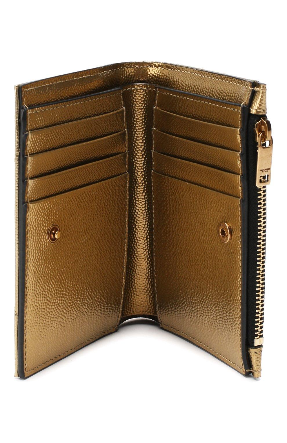 Женские кожаное портмоне monogram SAINT LAURENT золотого цвета, арт. 575974/03X07 | Фото 3