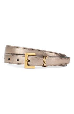 Женский кожаный ремень SAINT LAURENT серебряного цвета, арт. 554465/09E0W | Фото 1