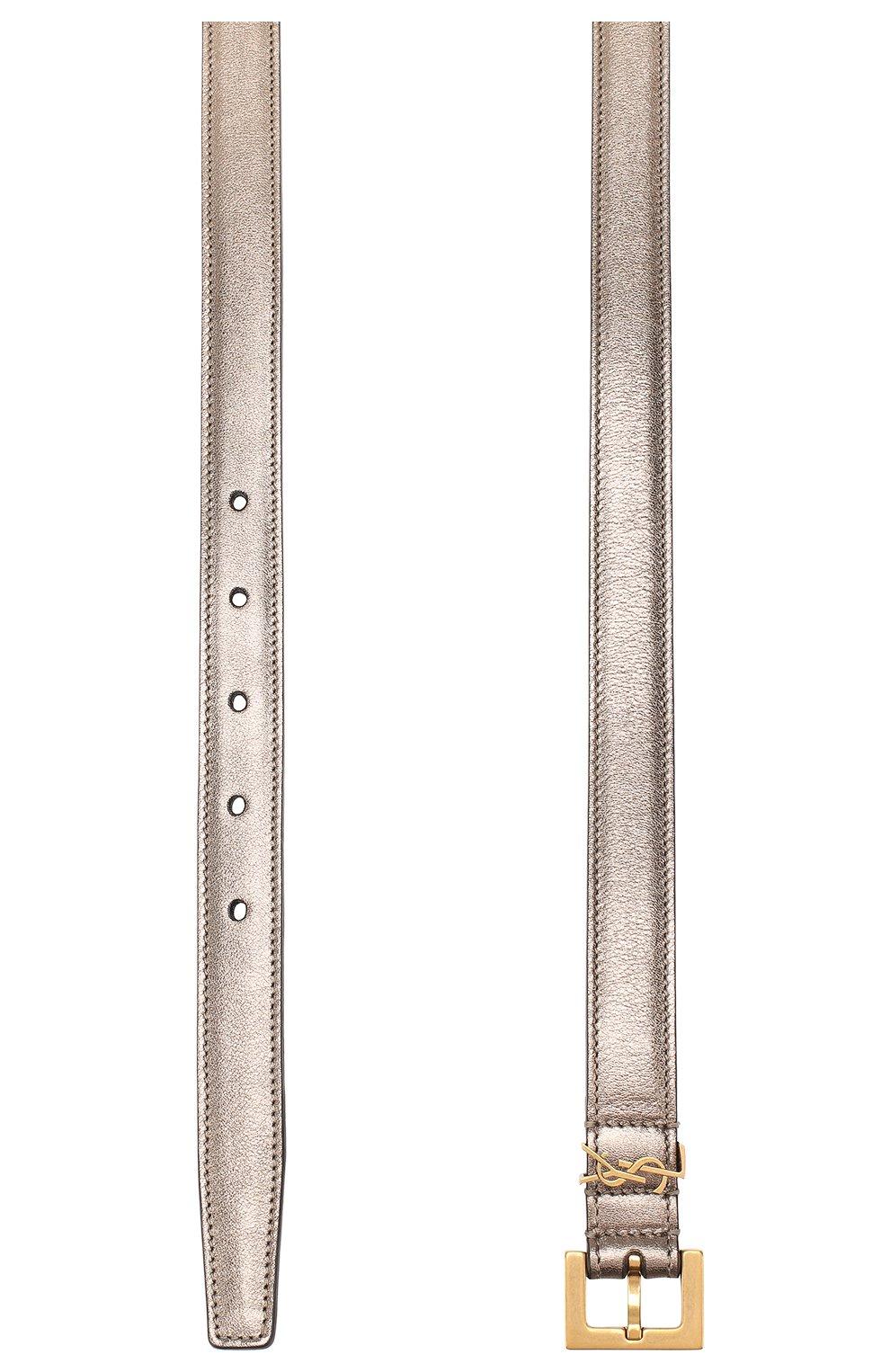 Женский кожаный ремень SAINT LAURENT серебряного цвета, арт. 554465/09E0W | Фото 2