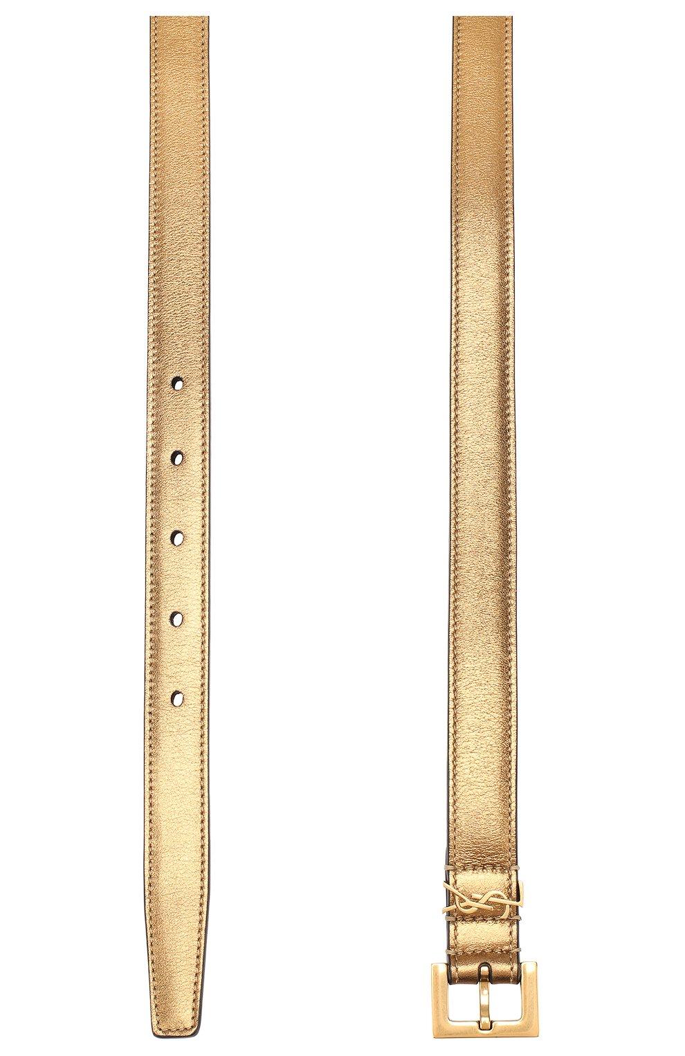 Женский кожаный ремень SAINT LAURENT золотого цвета, арт. 554465/09E0W   Фото 2