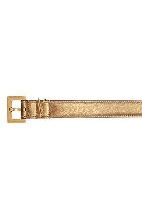 Женский кожаный ремень SAINT LAURENT золотого цвета, арт. 554465/09E0W   Фото 3