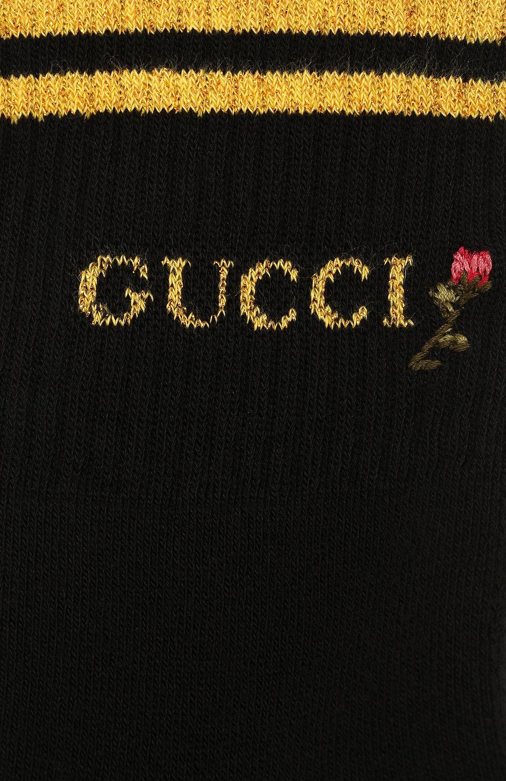 Женские хлопковые носки GUCCI черного цвета, арт. 579316/3GD70   Фото 2