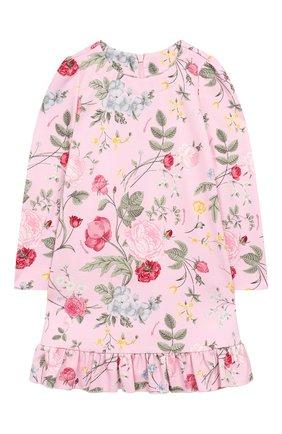 Детское хлопковое платье MONNALISA розового цвета, арт. 114906 | Фото 1