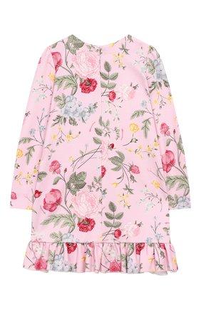 Детское хлопковое платье MONNALISA розового цвета, арт. 114906 | Фото 2