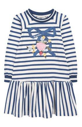 Детское хлопковое платье MONNALISA голубого цвета, арт. 194901R6 | Фото 1