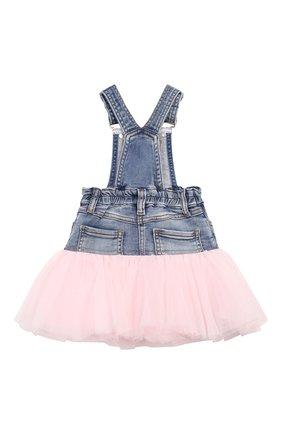 Детская джинсовая юбка с отделкой MONNALISA синего цвета, арт. 394700A3 | Фото 2