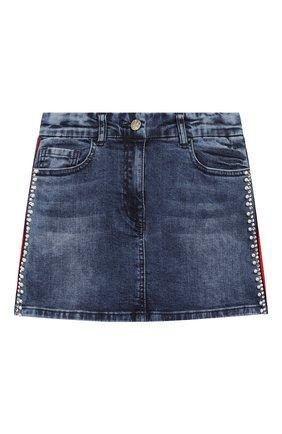 Детская джинсовая юбка MONNALISA синего цвета, арт. 794701A2 | Фото 1